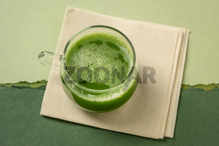 cup of green cucumber juice