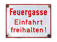 German sign isolated over white. Fire lane, keep entrance clear