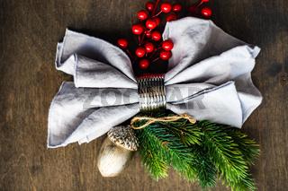 Festive table setting for Christmas