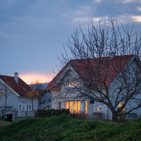 residential building house in the evening