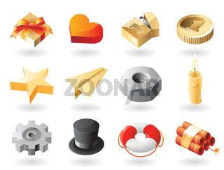 Isometric-style miscellaneous icons