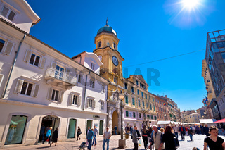 Town of Rijeka main square and clock tower view. European capital of culture 2020