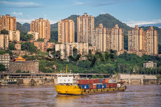 Cargo ship arriving in Chongqing city