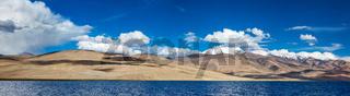 Panorama of Himalayan lake Tso Moriri (official name - Tsomoriri Wetland Conservation Reserve) in Himalayas