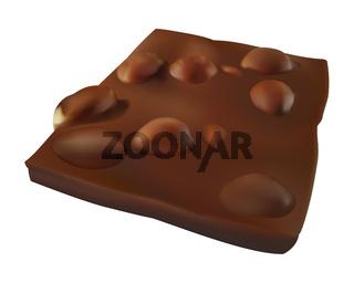 Realistic chocolate bar piece with many hazelnuts