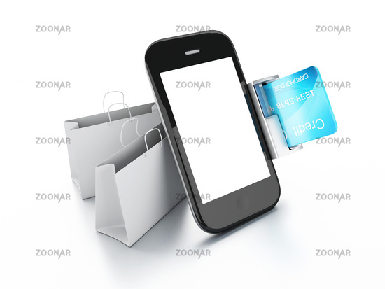mobile phone device with a shopping bag. online sh