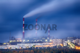 Night view of the metallurgical plant