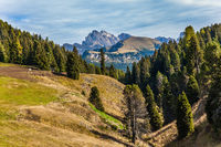 Powerful ridge of rocks in Val Gardena