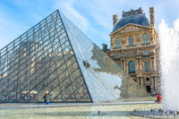 Washing the Glass Pyramid in the Courtyard of the Louvre