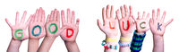 Kids Hands Holding Word Good Luck, Isolated Background