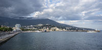 Panoramic view of the city of Yalta, sea and mountains, Russia.