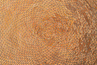 Red brick vault. Ceiling. Circular pattern. Architectural texture
