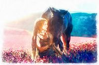 Portrait woman and horse outdoors. Woman hugging a horse, painting effect.