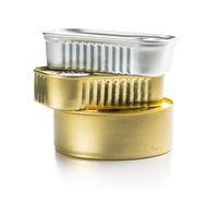 Three closed cans of sardines.