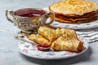 Homemade pancakes. Russian Maslenitsa.