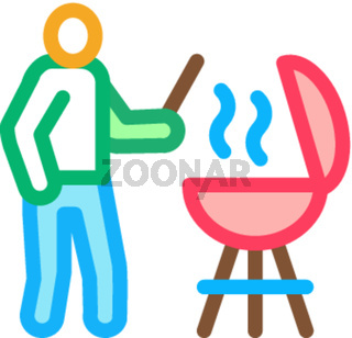bbq cooking icon vector outline illustration