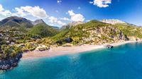 The beach Limnionas in Evia, Greece