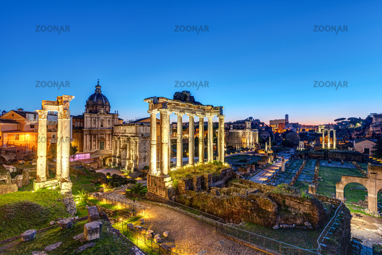 The ruins of the Roman Forum in Rome at dawn
