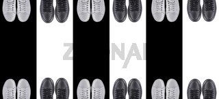 Background sports shoes. Black and white sneakers on a striped background.