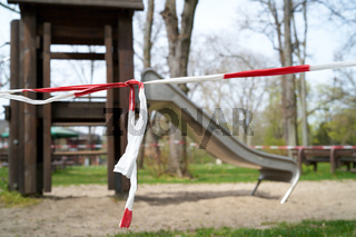 abgesperrter Spielplatz in Magdeburg