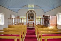 Church in the historic peat farm Laufás, Iceland, Europe