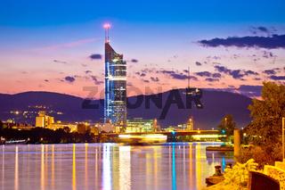 Vienna. Danube river coastline evening view
