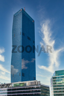 Bottom View on DC Tower and Buildings of Donau City in Vienna, Austria, Europe