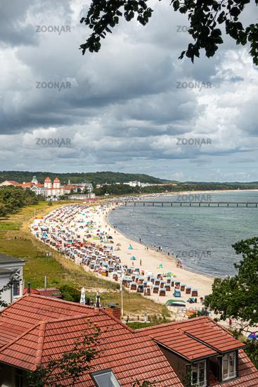 The lively beach of Binz in summer 2020, Rügen, Mecklenburg-Vorpommern, Germany