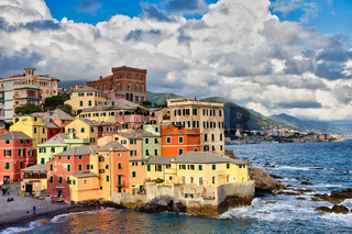Boccadasse marina panorama  in Genoa, Italy