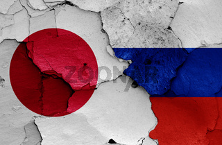 flags of Japan and Russia painted on cracked wall