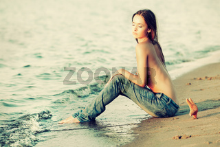 topless girl on beach