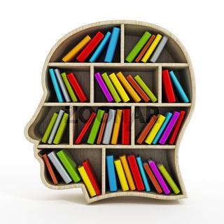 Books inside head shaped bookshelf