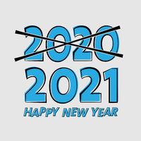 HAPPY NEW YEAR 2021 greeting card or sticker
