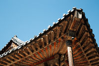 Korean traditional roof eaves at Tongdosa temple in Yangsan, Korea