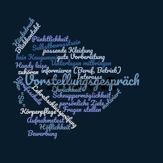 Vorstellungsgespräch - Wortwolke in Form eines Pfeiles