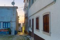street building dusk Nazare Portugal