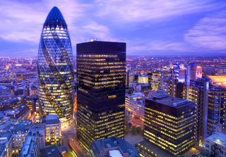 Financial district of London at dusk