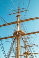 Tall ship mast with ropes