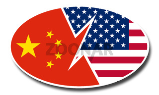 Concept of China US trade deal. China and US communication