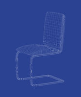 3D wire-frame model of dining chair