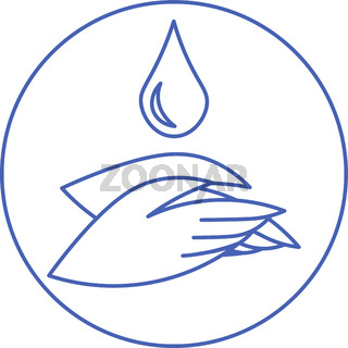Minimal outline icon with two hands and water drop