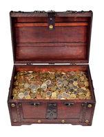 Schatzkiste voller Euromünzen / Treasure chest filled with coins
