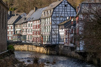 Half-timbered houses along the rur river in Monschau,