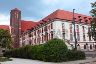 Church and old University Library on Island Piasek in Wroclaw