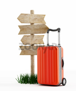 Suitcase standing by the signboard