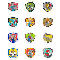 Cartoon Animals Industrial Jobs Set Collection Shield