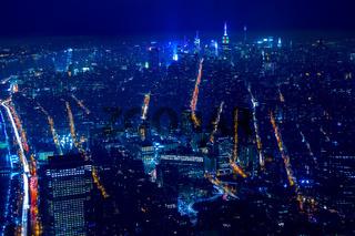 Aerial View at New York City at Night