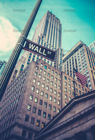 Wall Street Sign In Manhattan NYC