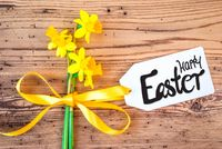 Yellow Narcissus Flower, Label, Calligraphy Happy Easter