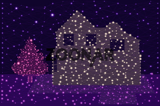 Country house and fir tree next to it - vector illustration of a luminous grid